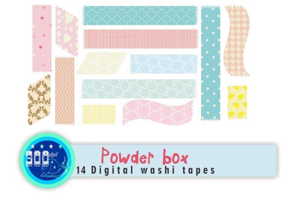 Pastel digital washi tape clipart 'Powder box' 14 by GemmedSnail, $3.00
