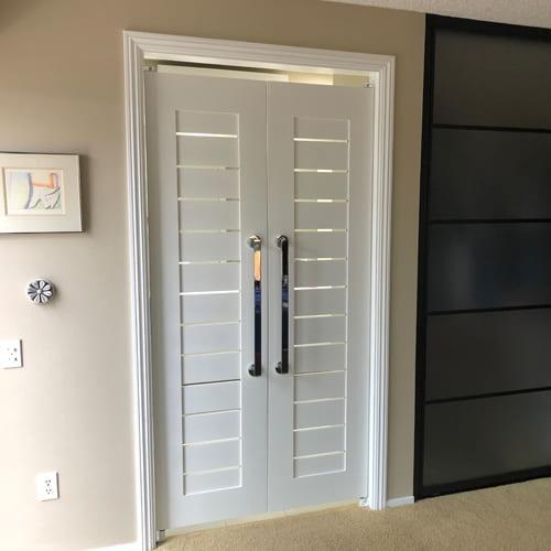 Modern Contemporary Double Swinging Interior Slat Doors In 2020