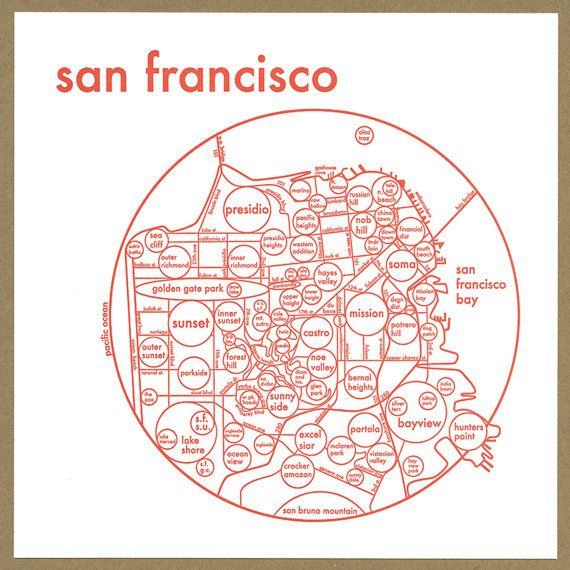 San Francisco Map Letterpress Print 8x8 Etsy San Francisco Map Letterpress Map Circle Map Go back to see more maps of san francisco. pinterest