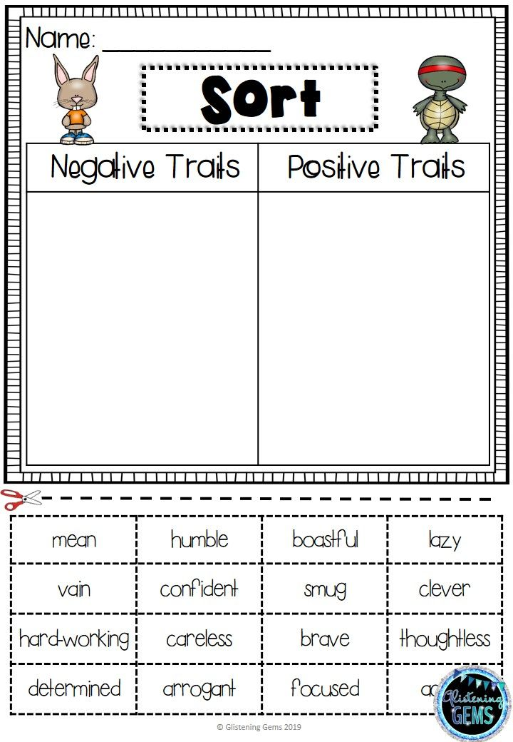 The Tortoise And The Hare Character Traits Sorting Activities Fable Lesson Plans Fables Activities Sorting Activities Fables worksheet 2nd grade