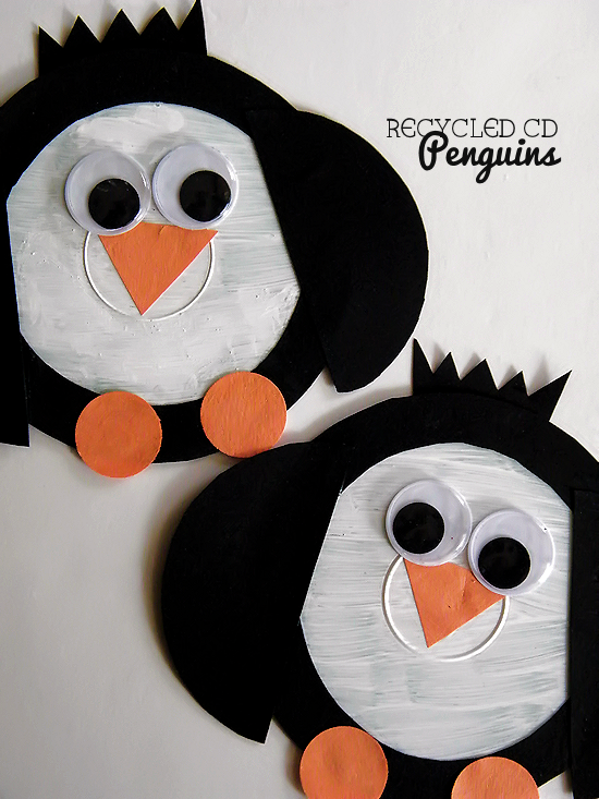 recycled cd penguins basteln fr hling basteln kinder. Black Bedroom Furniture Sets. Home Design Ideas