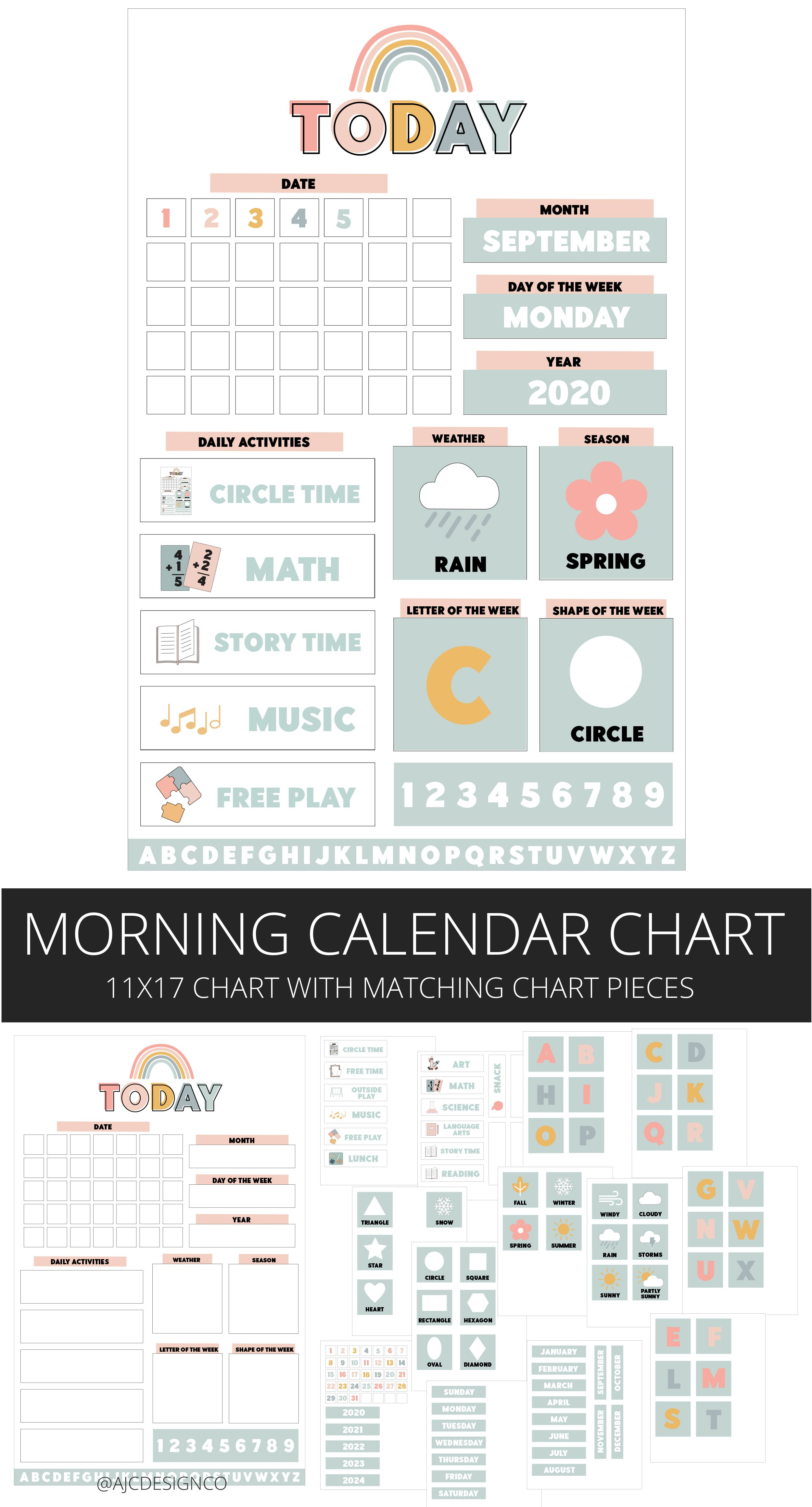 Homeschool Morning Calendar Chart Set Morning Routine