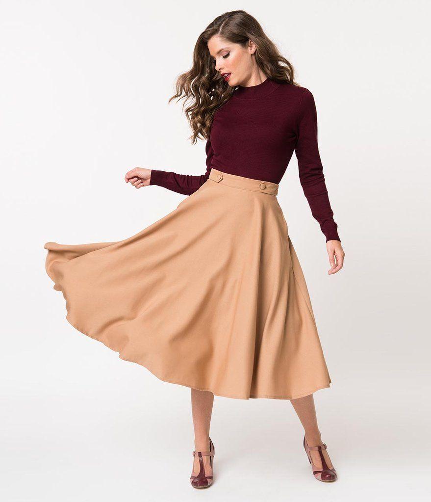 27051a86112 Banned 1950s Style Tan High Waist Di Di Swing Skirt
