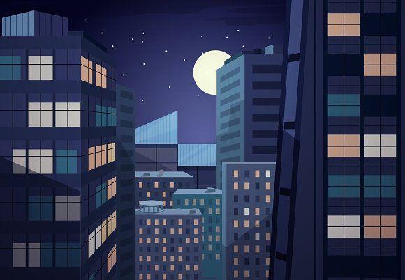 Vector Night Cityscape Cityscape Meme Background Building Illustration