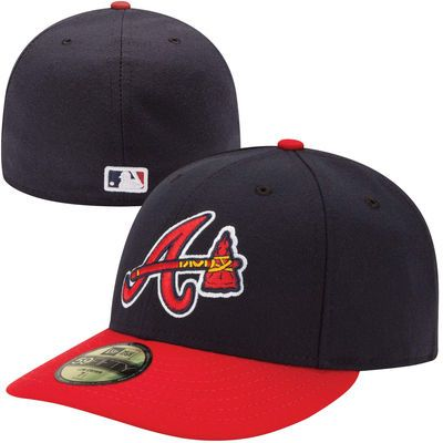6b4c79252 Men's Atlanta Braves New Era Navy/Red Authentic Collection Low Profile Home  Logo 59FIFTY Fitted Hat