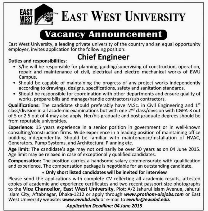 Post Chief Engineer Organization East West University  Http