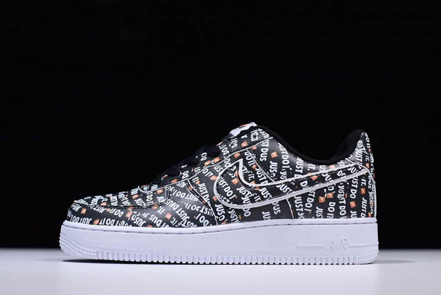 35f807f7a066 Authentic Nike Air Force 1 Low Just Do It Black White Orange AO3977-001 For