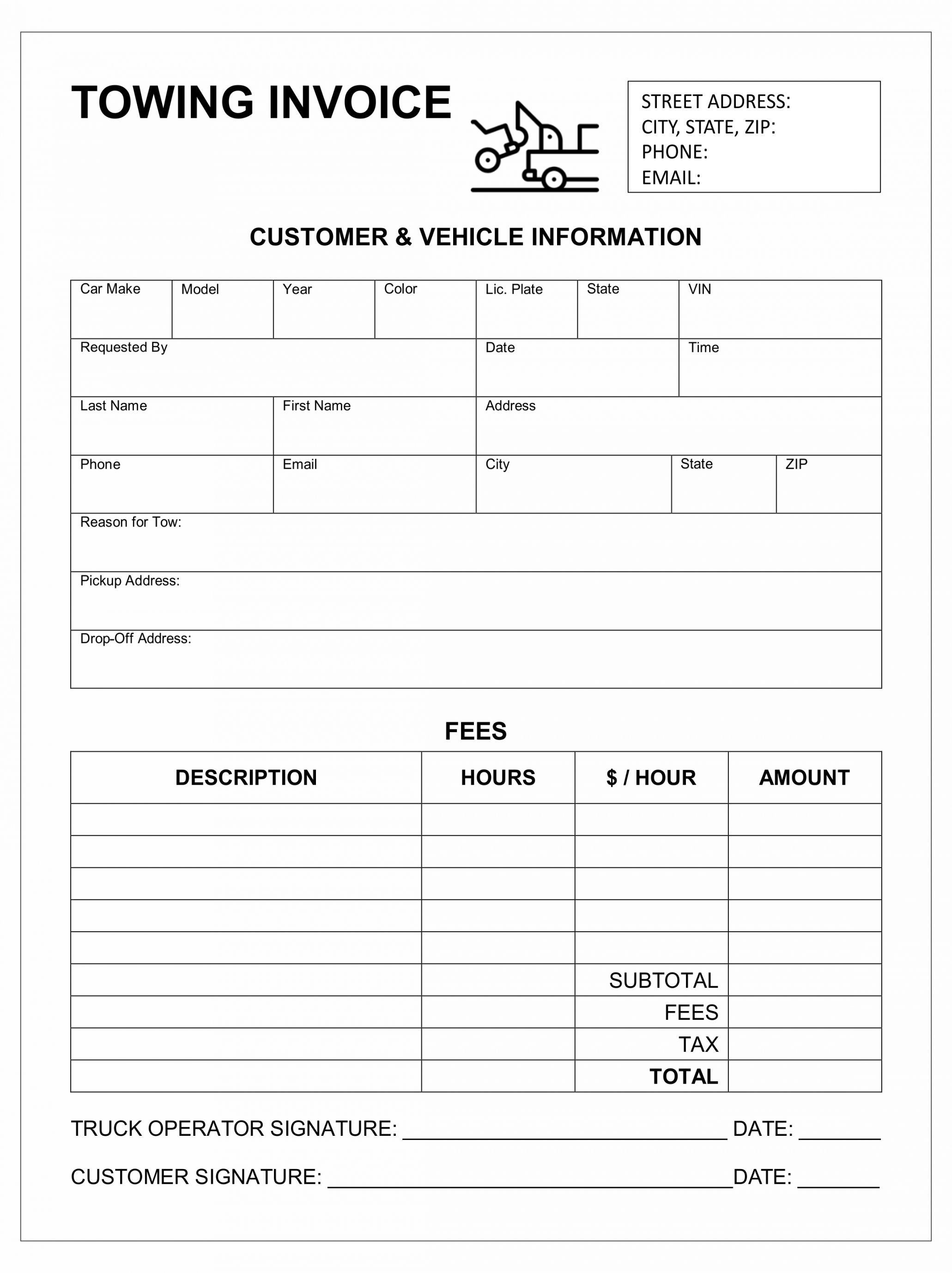 Get Our Printable Car Towing Receipt Template Invoice Template Receipt Template Templates