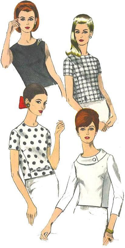 Vintage 1950\'s Sewing Pattern Vogue Semi-Fitted Overblouse Blouse ...