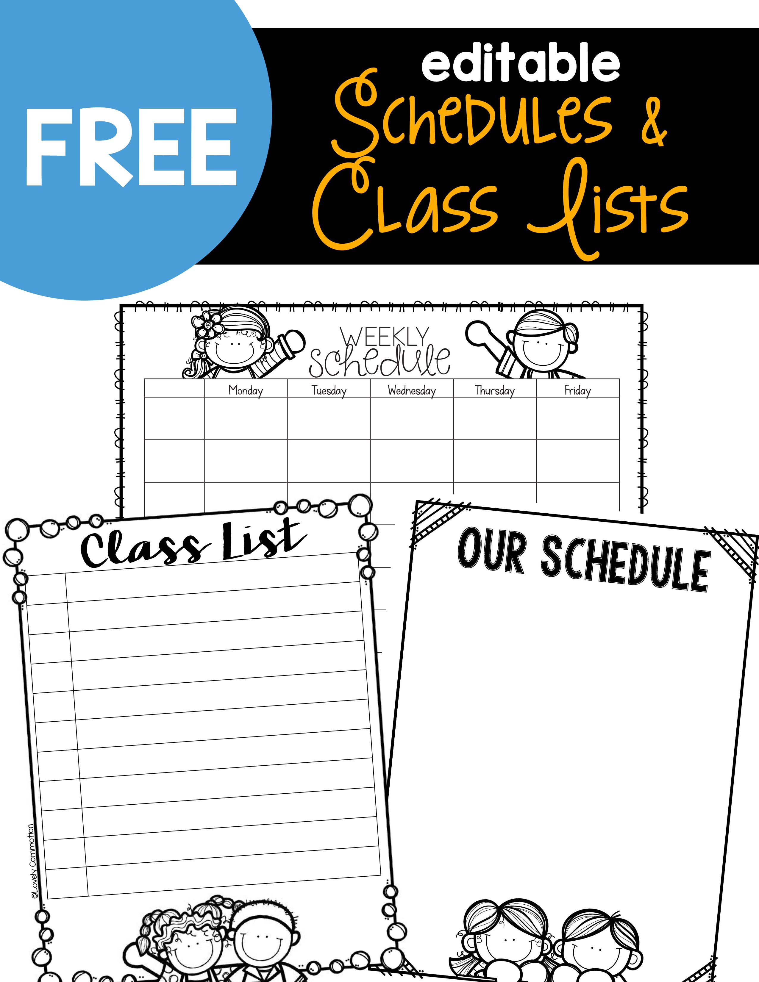 Editable Schedules  Class Lists  Free School And Teacher