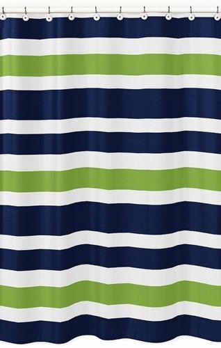 Navy Blue And Lime Green Stripe Kids Bathroom Fabric Bath Shower