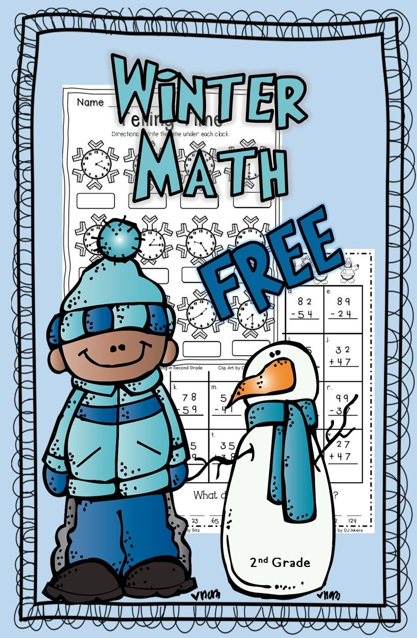 FREE winter math for second grade--telling time and addition with ...