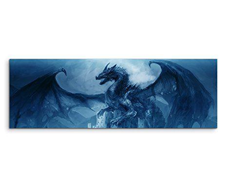 Amazonde 150x50cm Wandbild - Farbe Blau Petrol Panoramabild