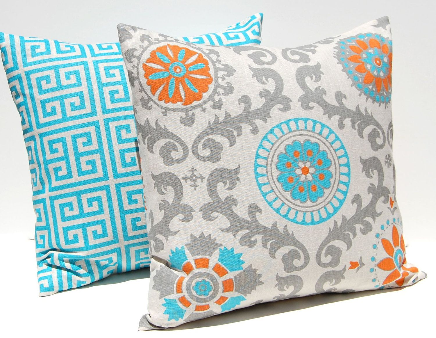 Decorative Turquoise Throw Pillows : Decorative Throw Pillow Covers Turquoise, Orange and Gray on Natural Greek Key and Suzani 20 x ...