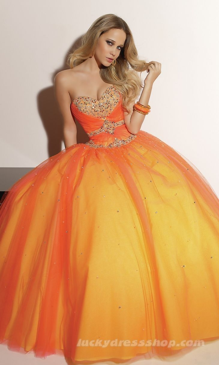 Orange Ball Gown Strapless Long/Floor-length Dress | Orange Zest ...