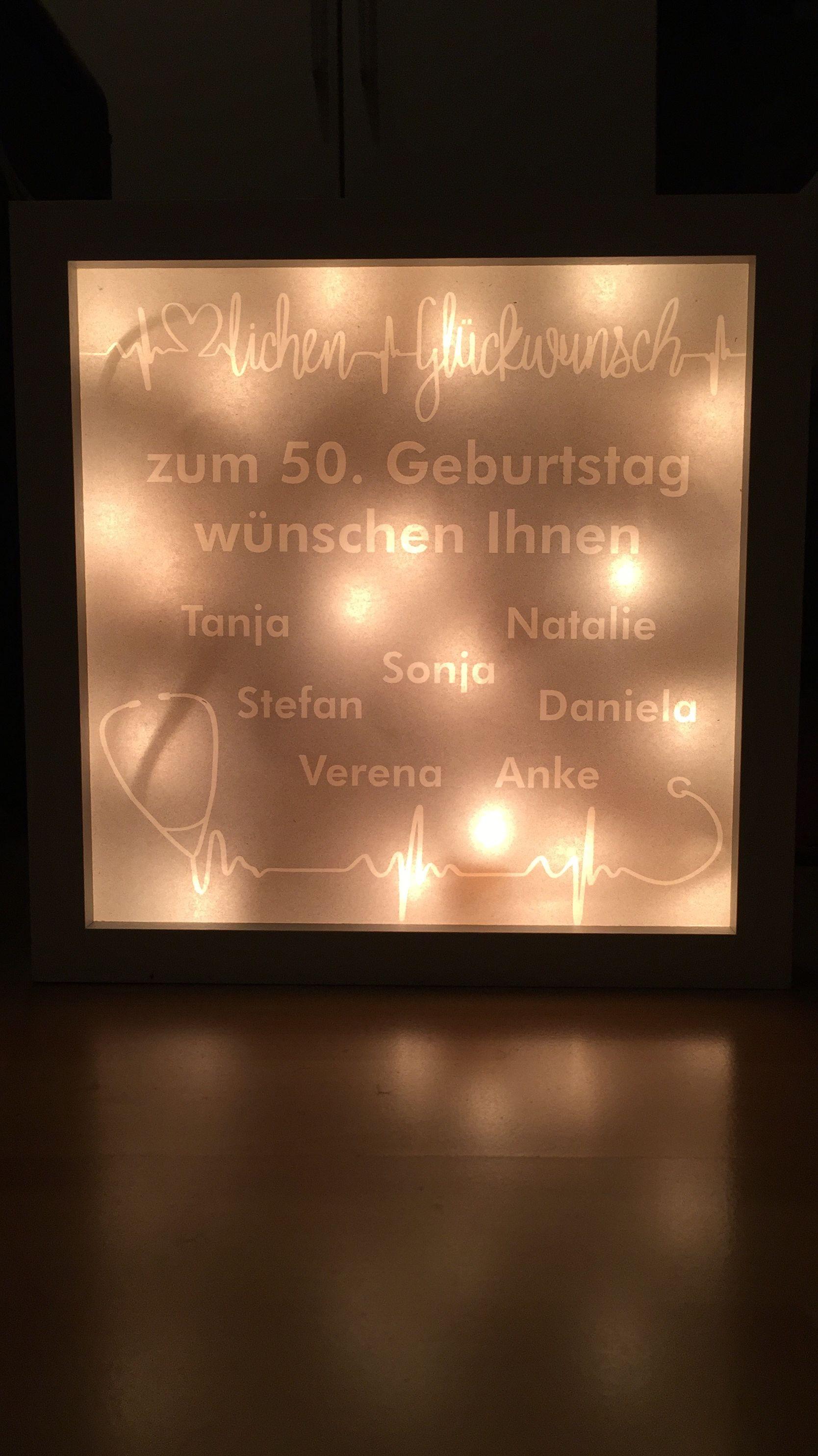 Beleuchteter Bilderrahmen Geburtstagsgeschenk Zum 50 Geburtstag Beleuchteter Bilderrahmen Bilderrahmen Geburtstag