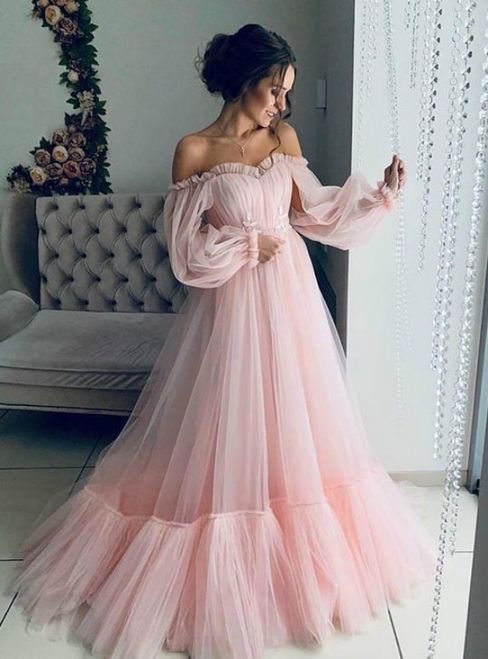 Pink Tulle Long Sleeve Off the Shoulder Pleats Prom Dress A-Line Evening Dress