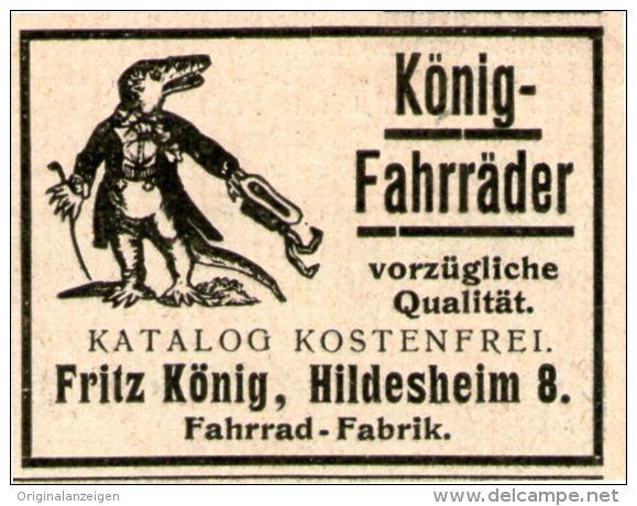 Original Werbung Inserat Anzeige 1902 Konig Fahrrader Motiv