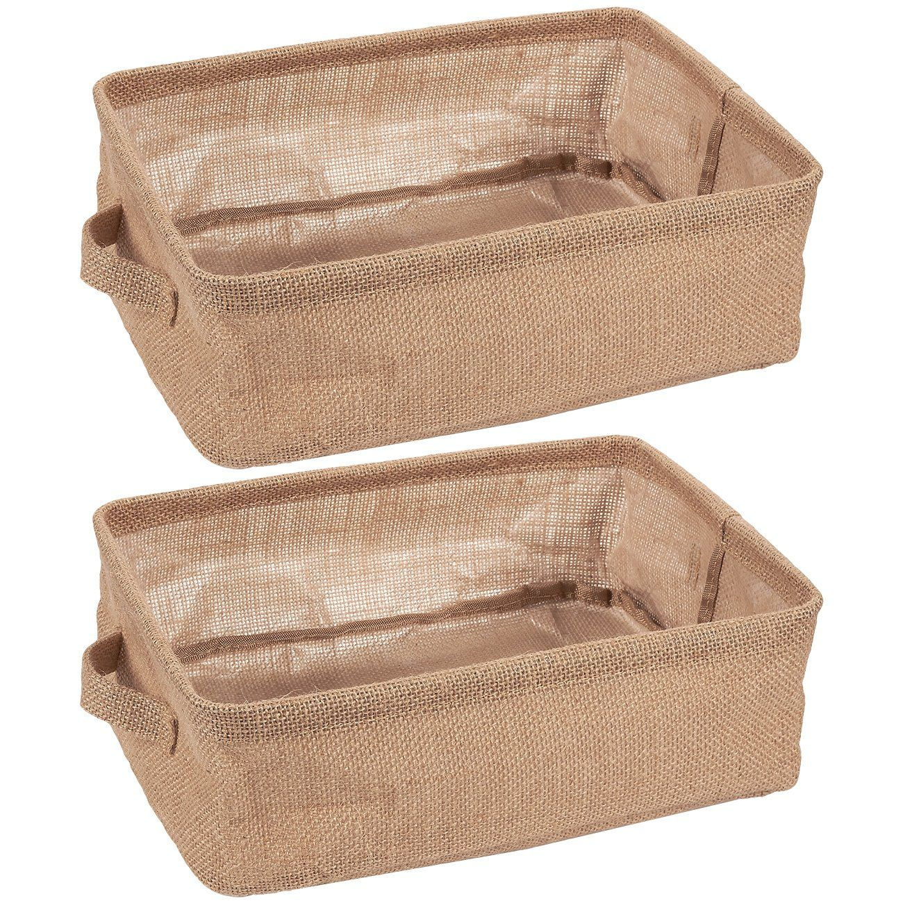 Juvale Collapsible Storage Bin Basket 2 Pack Fabric Linen Cloth Storage Basket With Handles Perfect For Underbed Magazine Shelves Closet Magazine Sto