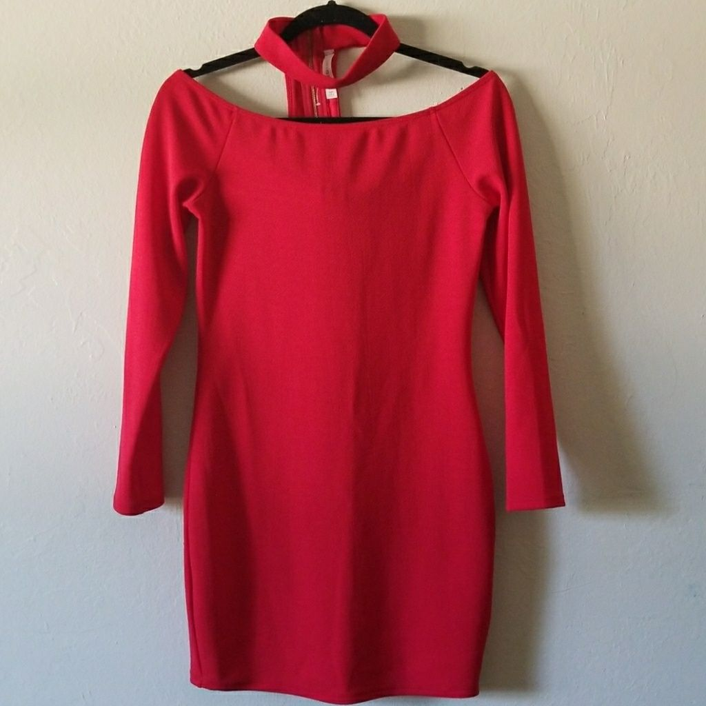 Red off the shoulder dress with choker shoulder dress choker and