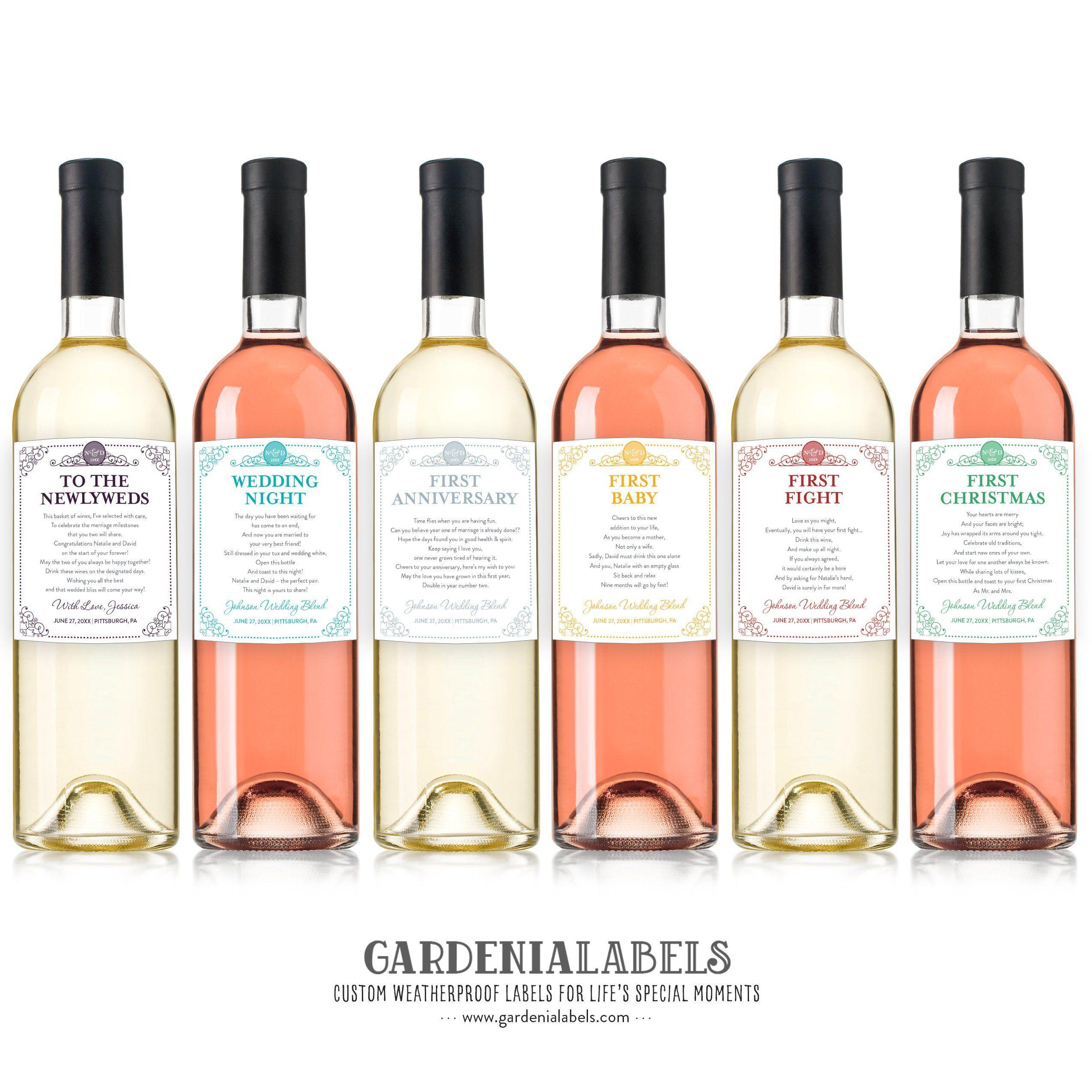 Bridal Shower Gift Wedding Wine Tag Milestone Wine Labels Marriage Milestone Wine Basket Anniversary Wine Labels Unique Engagement Gift