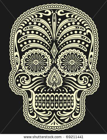 stock vector : Ornate Sugar Skull