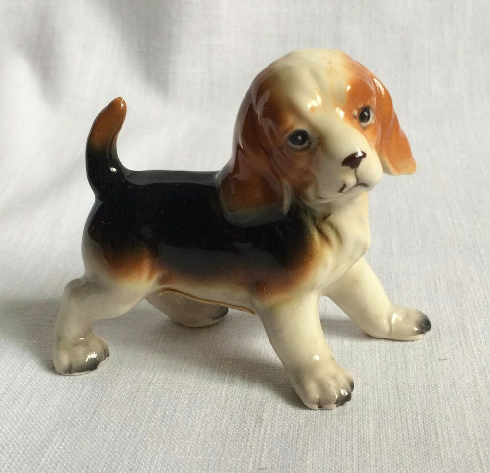 Vintage Beagle Dog Figurine Made In Japan Tri Color Pup
