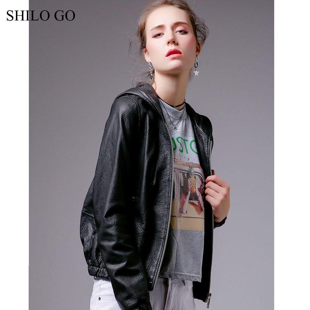 Shilo Go Leather Jacket Womens Autumn Fashion Sheepskin Genuine Leather Coat Hooded Puff Long Sleeve Conci Jackets For Women Leather Jackets Women Zipper Coats [ 1000 x 1000 Pixel ]