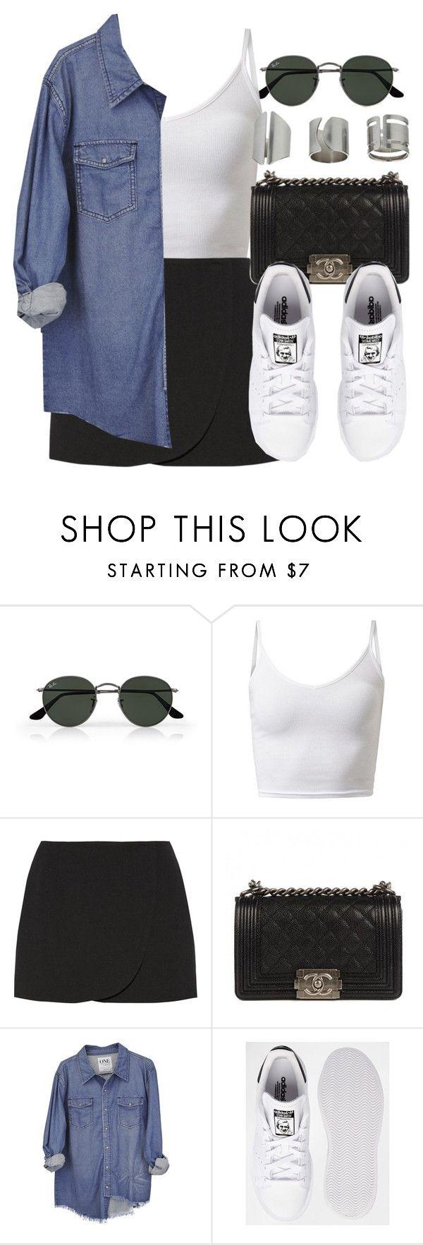 """Style #11045"" by vany-alvarado ❤ liked on Polyvore featuring Ray-Ban, Jill Stuart, Chanel, adidas and Topshop"