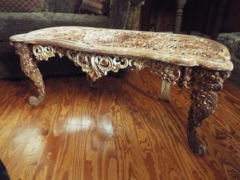 ANTIQUE VICTORIAN ORNATE IRON GARDEN BENCH- VANITY BENCH-TABLE