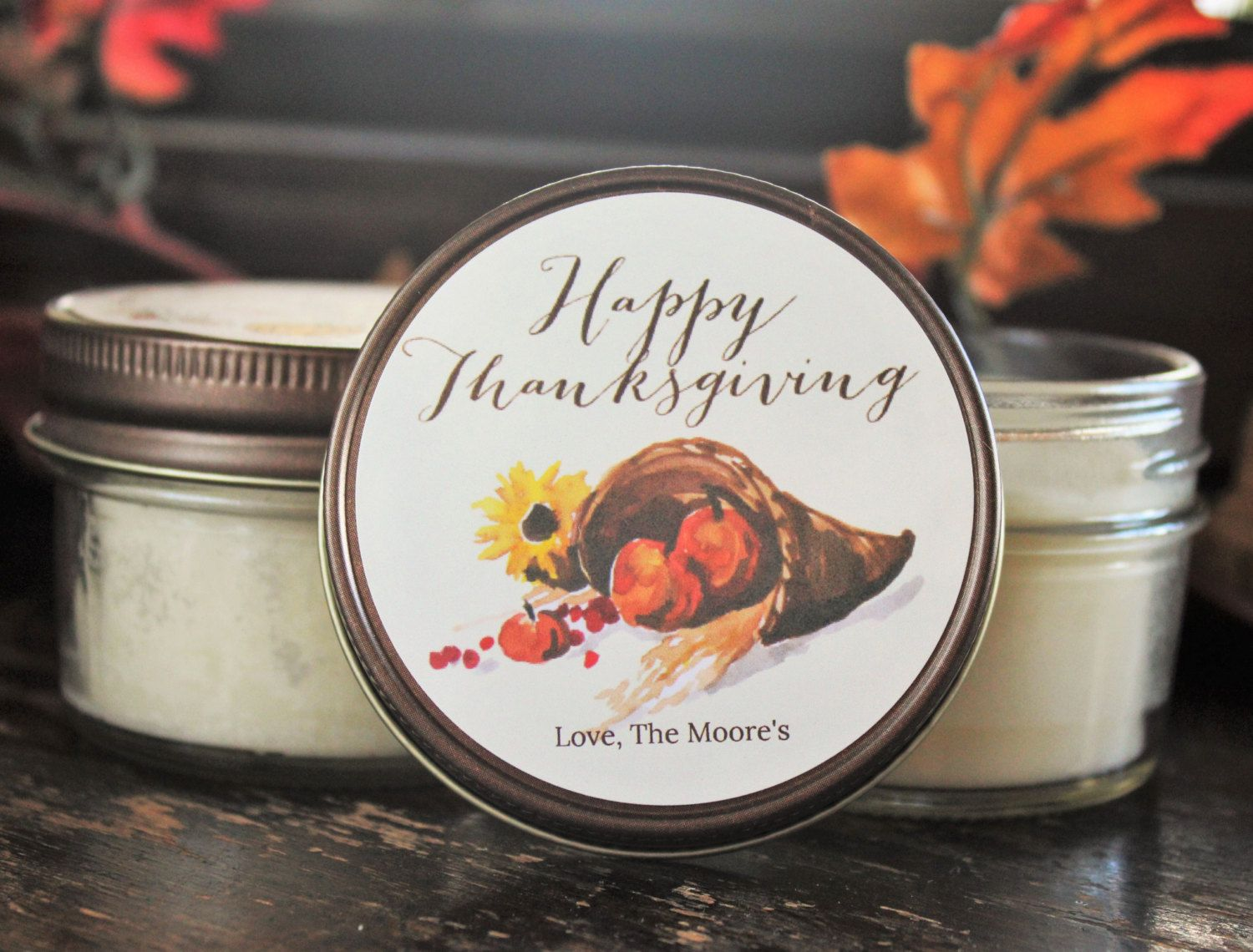 Set of 12 4 oz. Thanksgiving Favor by TheDancingWick on Etsy