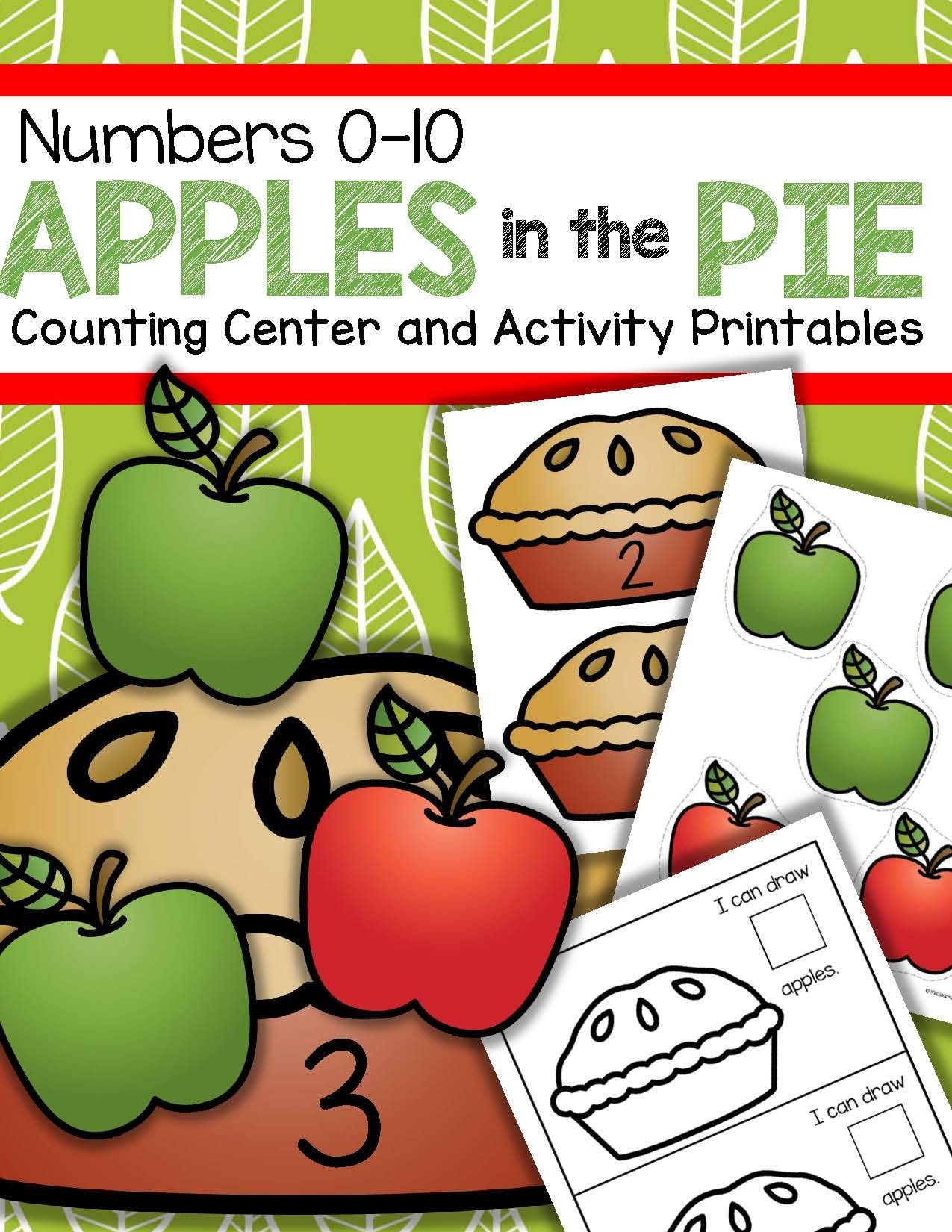 Apples and Pies Counting Center and Printables 0-10 Preschool ...