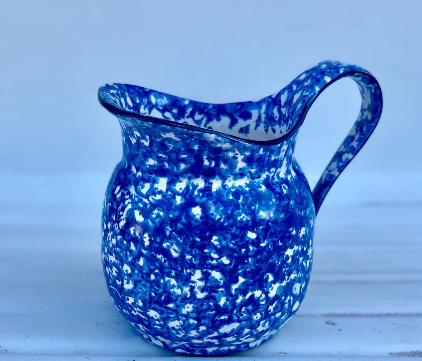 Stangl Pottery, Blue Spongeware Pitcher, Town and Country