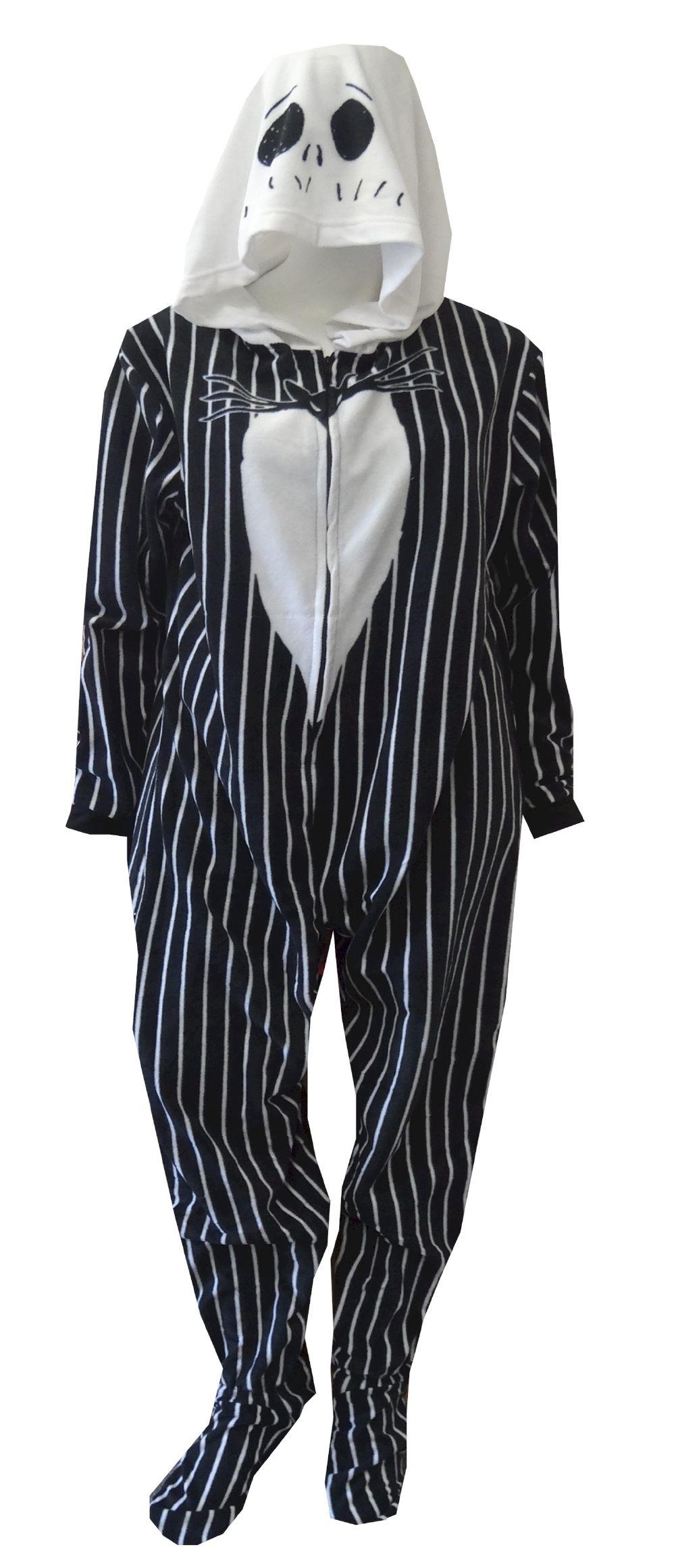 Nightmare Before Christmas Jack Skellington One-Piece Hooded PJs Pajamas