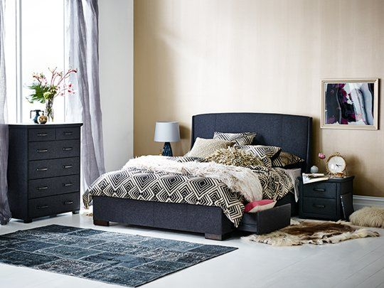 memphis winged queen bed frame with storage base main product image 1 - Slate Bed Frame