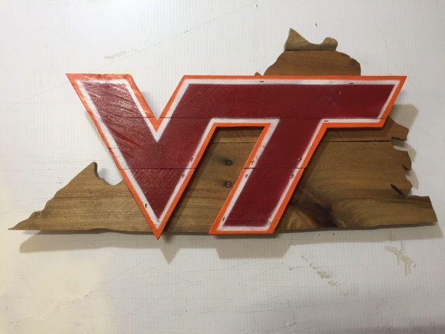Virginia Tech Rustic Wooden Sign Hokies Wood Projects Wooden