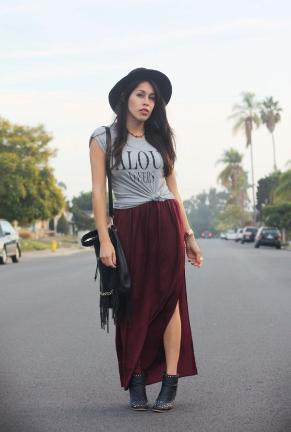859a19ae7efc burgundy, maxi skirt, graphic tee, hat, black, boots, grunge, dope, chic,  fall