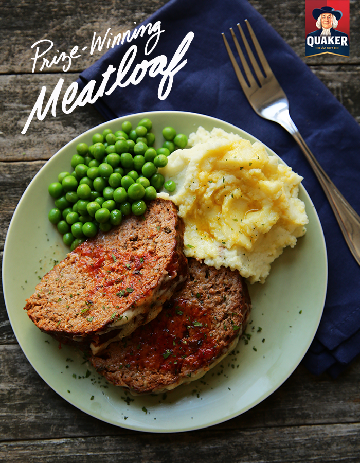 The secret ingredient for an amazing meatloaf is *drum roll* Quaker® Old Fashioned Oatmeal! Toss in 3/4 cup of oats into your usual meatloaf batter and you'll have a new whole-grain spin on this classic, comforting dish. Pro Tip: you can further customize your meatloaf by 1/2 cup of adding canned (drained) corn bell pepper mushrooms, or a sprinkle fresh parsley or cilantro. Enjoy!