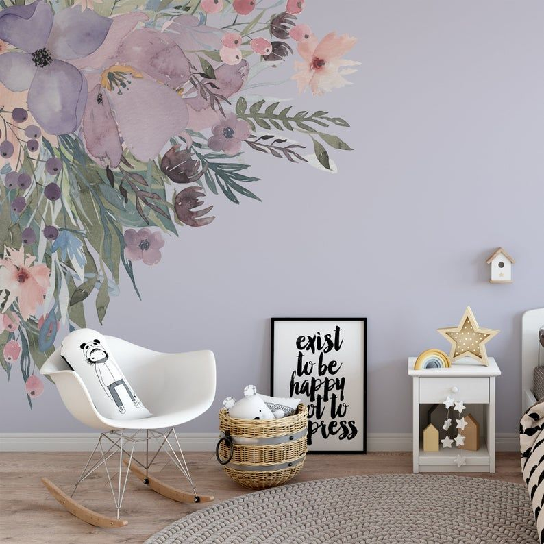 Corners Wild Spring Garden Lavender Pink Wall Decal Flowers Etsy In 2021 Flower Wall Decals Pink Walls Wall Decals For Bedroom
