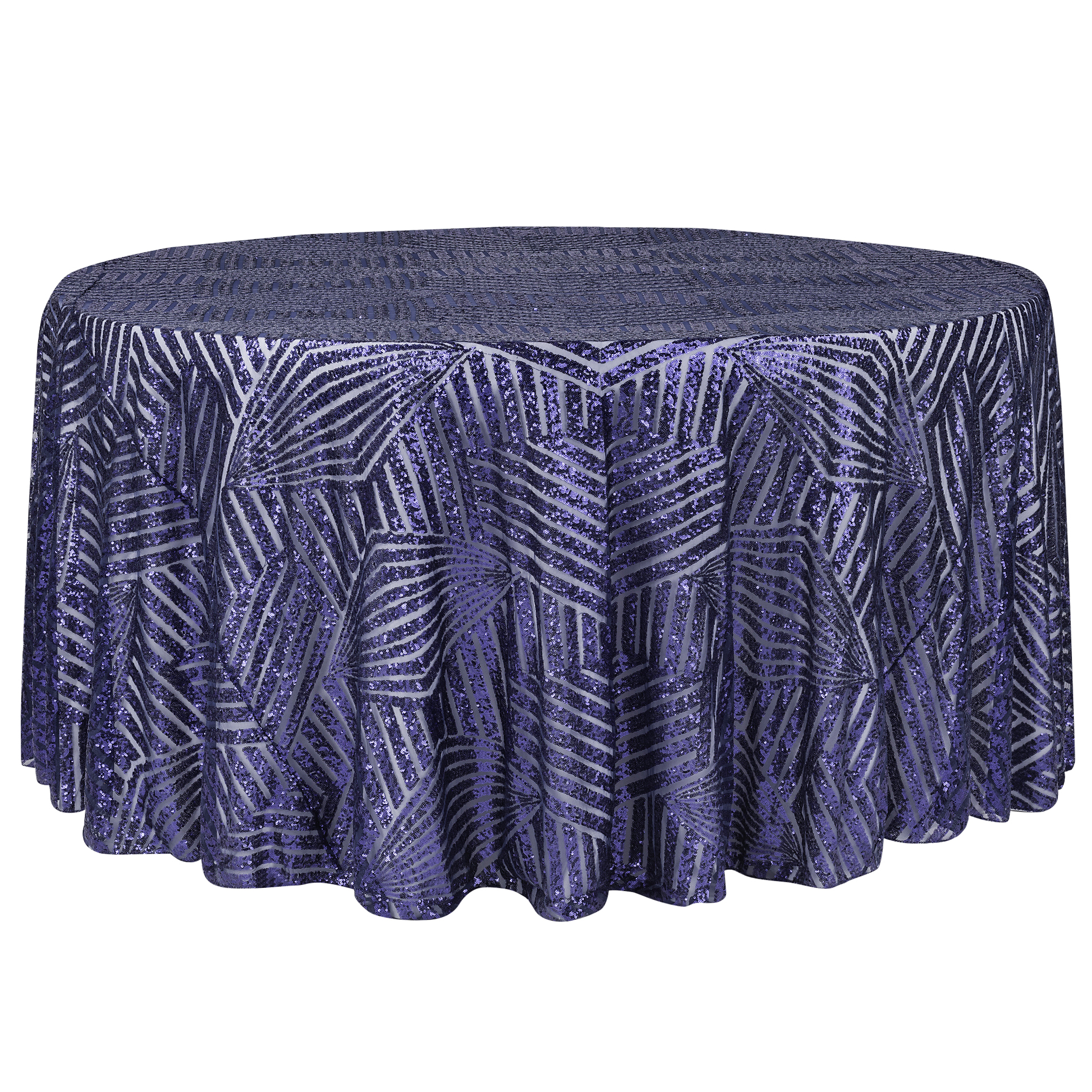 Geometric Glitz Art Deco Sequin Tablecloth 120 Round Navy Blue