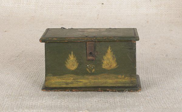 Sold For $4,000 Jonas Weber, Lancaster County, Pennsylvania, ca. 1840, decorated trinket box, the top and sides painted with a elaborate tulip and leaf decoration, the front with a landscape of trees flanking a bush, 2 1/4'' h., 3 1/2'' w., 2'' d. Condition report Wire hinges replaced. Overall good condition. No other apparent damages or repairs.