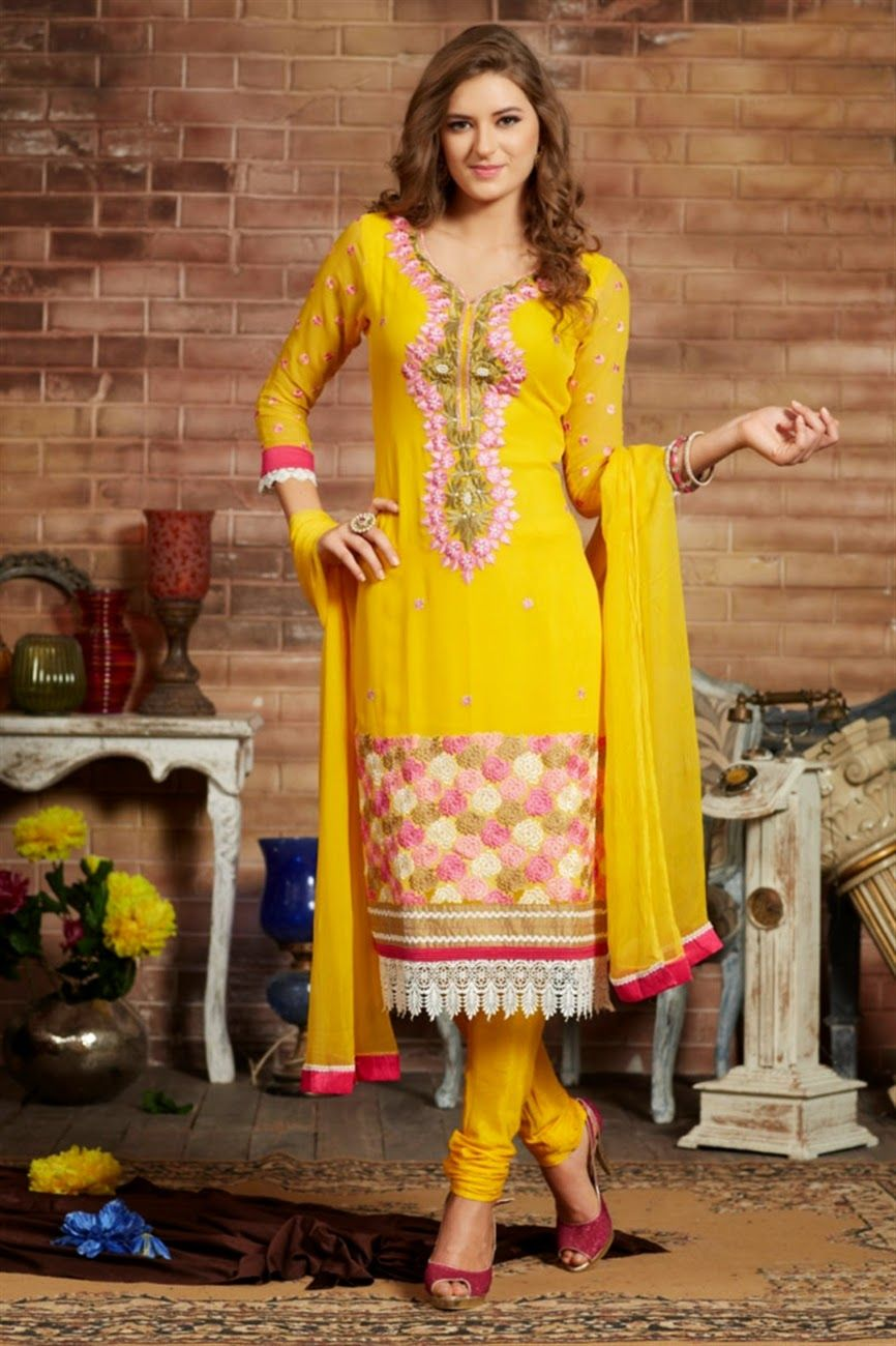 Scintillating Straight Churidar Suits - Latest Fashion Trends 2015