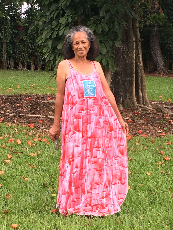 Hawaiian hand painted plus size dress beach wedding dress