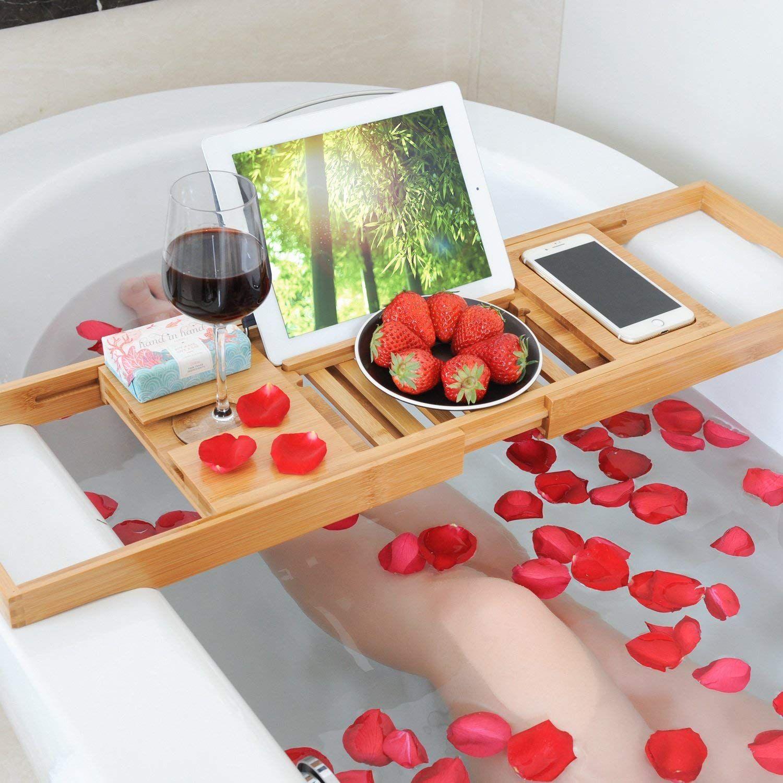 Bamboo Bathtub Caddy Tray Extendable Luxury Spa Organizer With Folding Sides Natural Ecofriendly Wood Integrated Table Bath Tray Bath Caddy Bathtub Tray