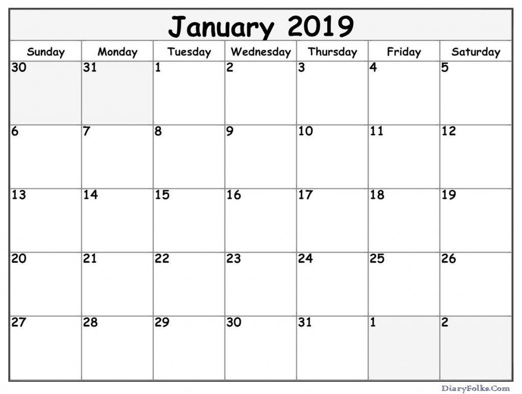 Blank January 2019 Calendar Template January2019 January