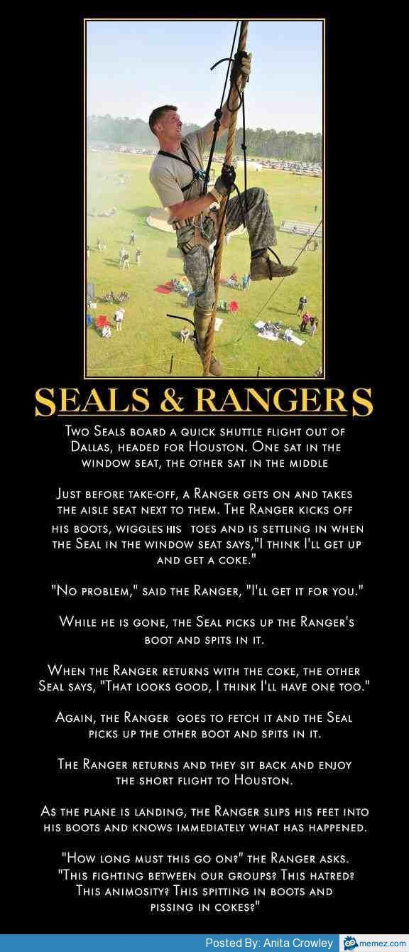 Ranger vs Seal   Memes.com   Military humor, Military ...