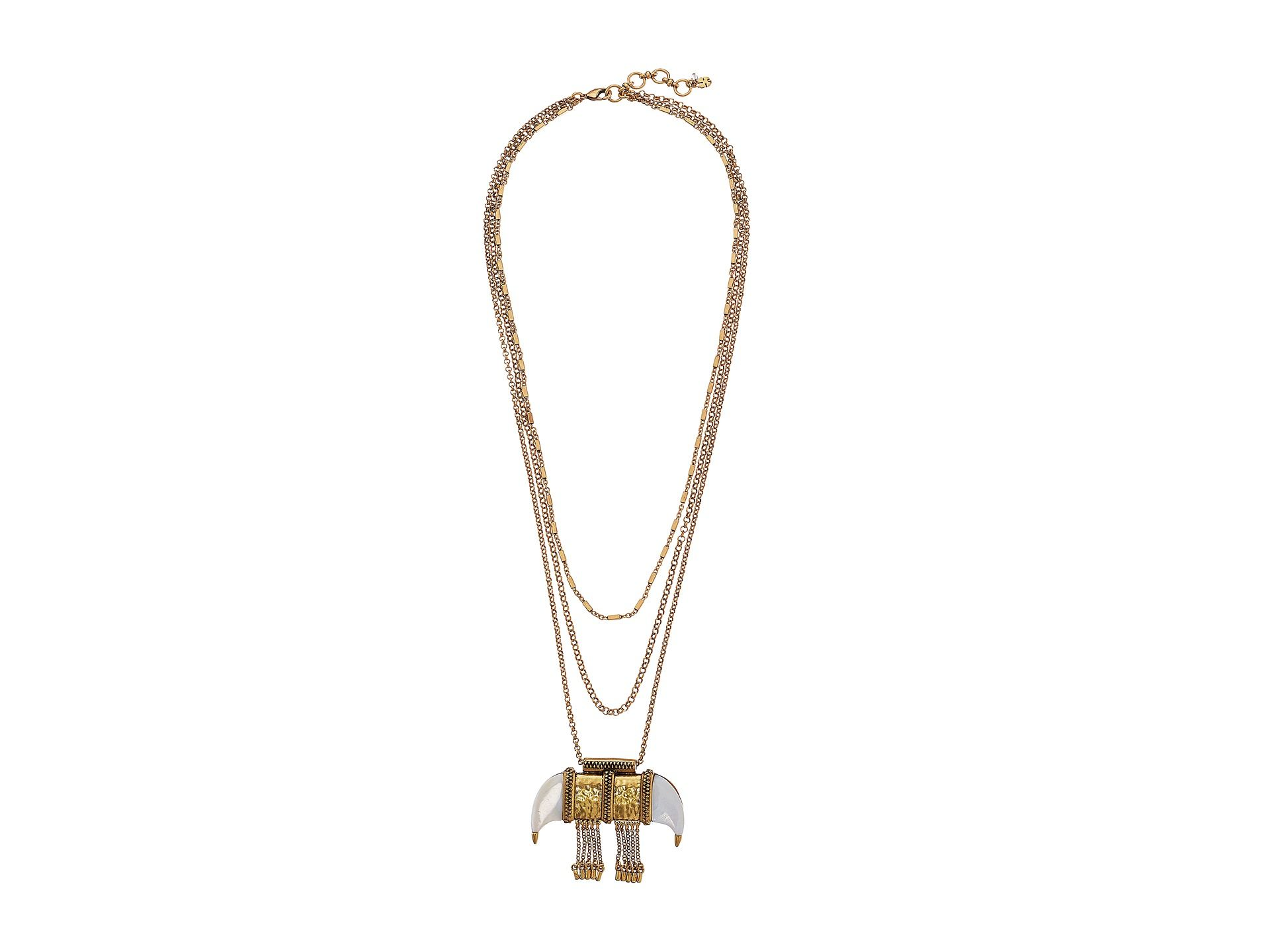 Lucky Brand White Tusk Pendant Necklace Gold - 6pm.com