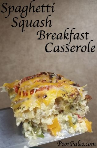 Spaghetti Squash Breakfast Casserole  Note to self: replace the bell peppers with green chills.  Mmmm