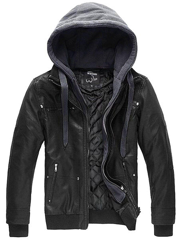 Men S Faux Leather Jacket With Removable Hood Black Heavy C611fapshrt Leather Jacket Men Faux Leather Jacket Men Best Leather Jackets [ 1500 x 1134 Pixel ]