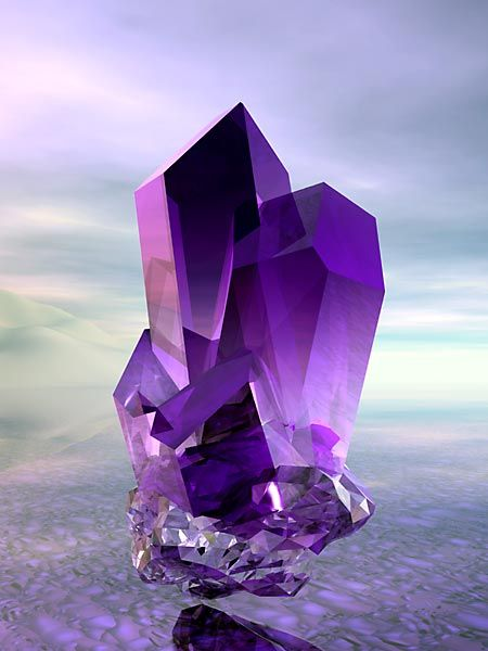 Mind Body Spirit~ Amethyst is a quartz, and its color comes from trace amounts of iron.  A tiny trace of iron, as small as the head of a pin, or smaller, can color an entire cubic foot of amethyst.   Its natural color runs from a pale lilac to a vibrant purple.